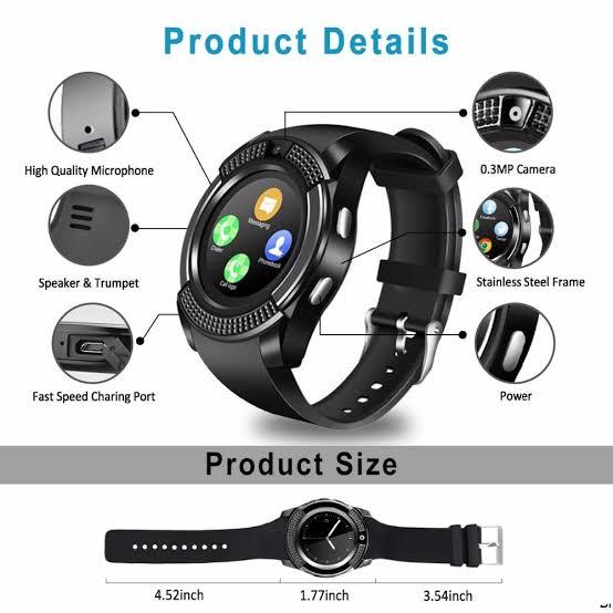 Smart Watch V8 أسود
