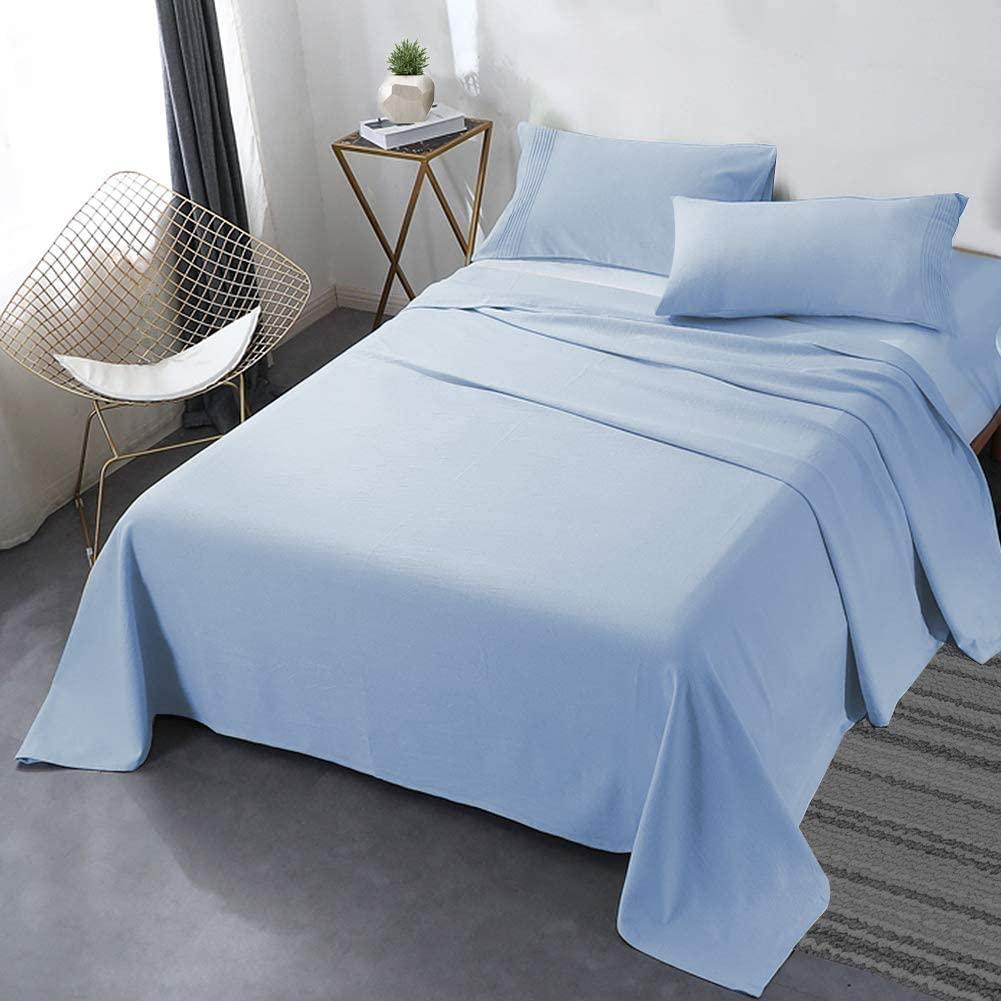 طقم ملاية سرير مزدوجة 4 قطع لبني