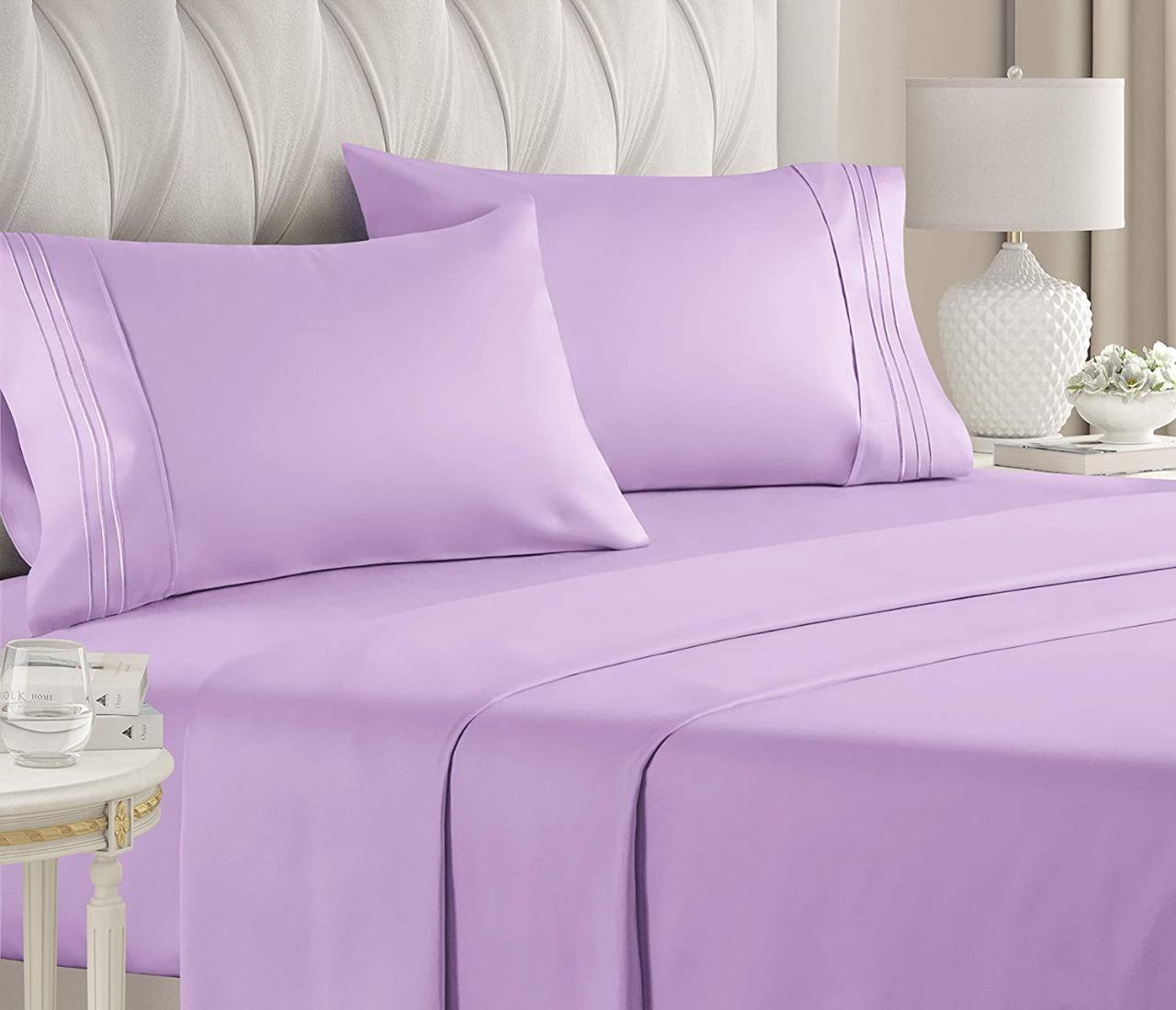طقم ملاية سرير مزدوجة 4 قطع بنفسجي فاتح
