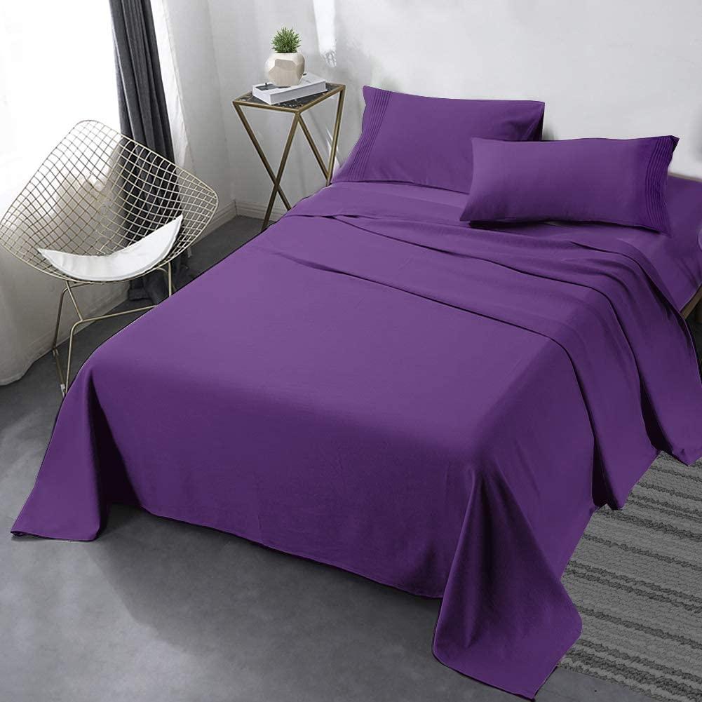 طقم ملاية سرير مزدوجة 4 قطع بنفسجي غامق